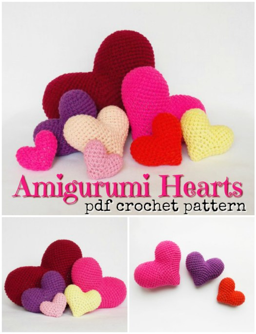 Cute and simple pattern for amigurumi crocheted hearts pattern. If I get working, I could make enough of these for my kids' class! Fun candy-free valentines day handmade gift idea. #crochet #pattern #amigurumi #hearts #valentinesday #amigurumipattern #crochetpattern #yarn #crafts #craftevangelist