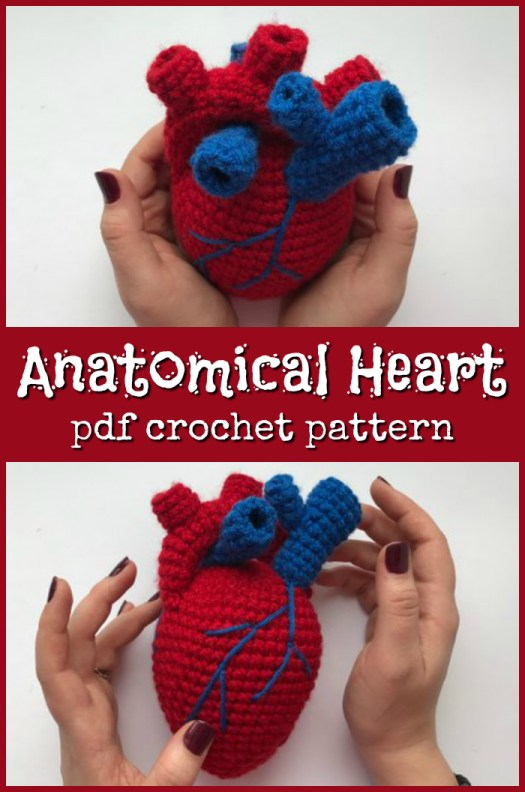 Fun crocheted amigurumi heart pattern for anatomical human heart, perfect for a funny handmade valentine's day gift! My husband would get a good laugh out of this! #crochet #amigurumi #crochetpattern #amigurumipattern #yarn #crafts #heart #anatomicalheart #craftevangelist