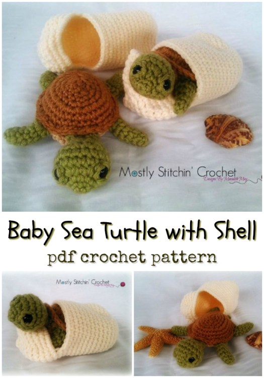 What a fun little crochet project! Baby Sea Turtle with Shell amigurumi crochet pattern makes a perfect little interactive toy for a child! So fun! #crochet #pattern #amigurumi #crochetpattern #stuffedtoypattern #handmadegifts #handmade #yarn #crafts #craftevangelist