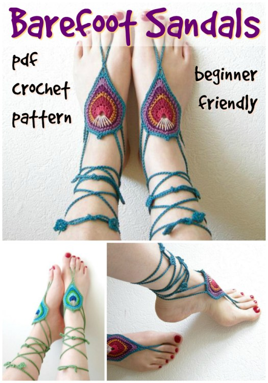 Pretty barefoot sandals beginner crochet pattern, What a fun little pattern to make for the beach! #crochet #pattern #beachwear #crochetpattern #boho #barefootsandals #barefoot #yarn #crafts #diy #etsy #craftevangelist