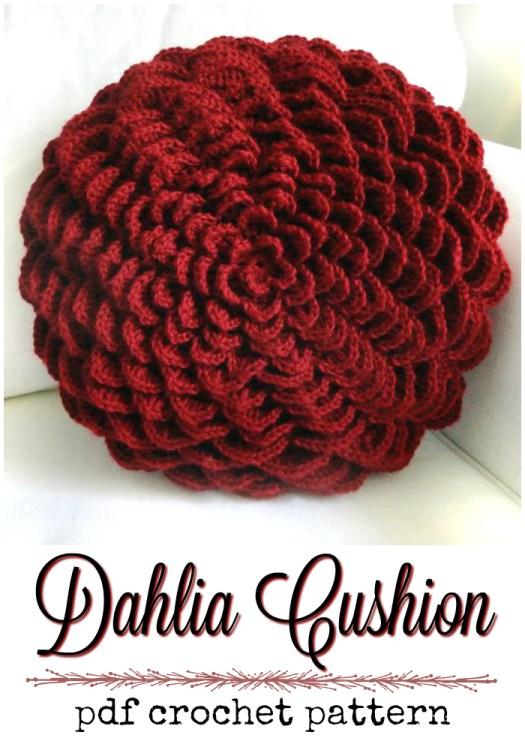 Dahlia round flower cushion crochet pattern for this pretty throw pillow! Love this gorgeous rich color! #crochet #pattern #pillow #crochetdecor #crochetpillow #yarn #crafts #craftevangelist