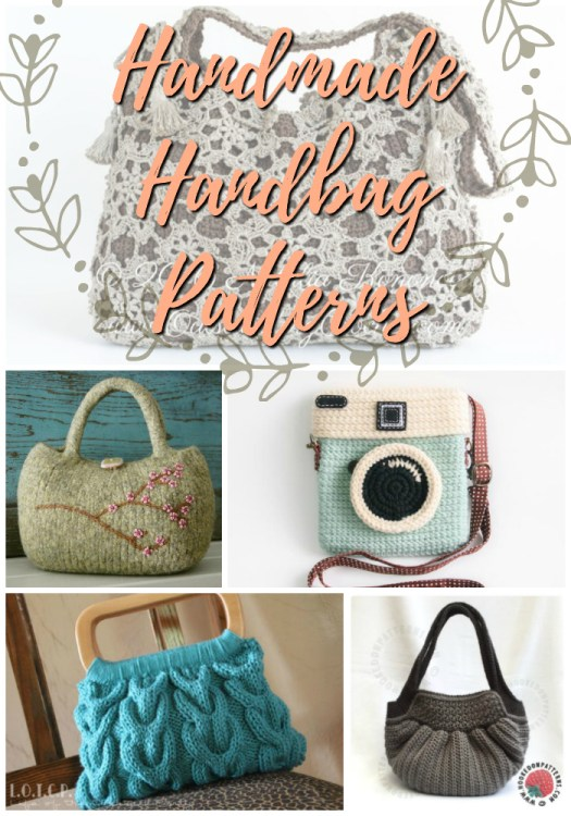 Handmade Handbags to make yourself! Knitting and crochet patterns for some gorgeous handbags! Love the camera purse! #crochet #knit #patterns #handbag #handmade #purse #yarn #crafts #diy #accessories #bag
