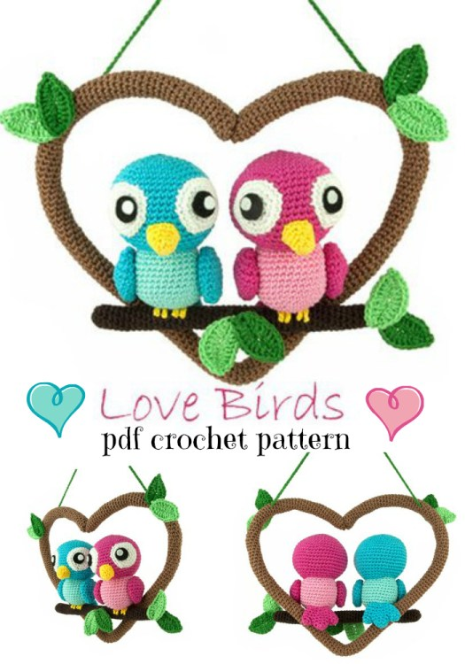 Cute little love birds amigurumi crochet pattern for valentines day! #crochetpattern #amigurumipattern #crochet #amigurumi #yarn #crafts #valentinesday #bemine #lovebirds #craftevangelist