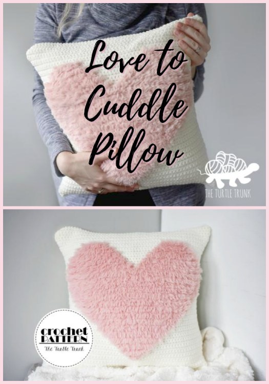 This sweet faux fur heart crochet pillow pattern looks so cozy and cuddly! Perfect cushion for valentines day or for a nursery! #crochet #pattern #fauxfur #crochetpattern #pillow #cushion #crochetpillow #crochetdecor #crafts #yarn #craftevangelist