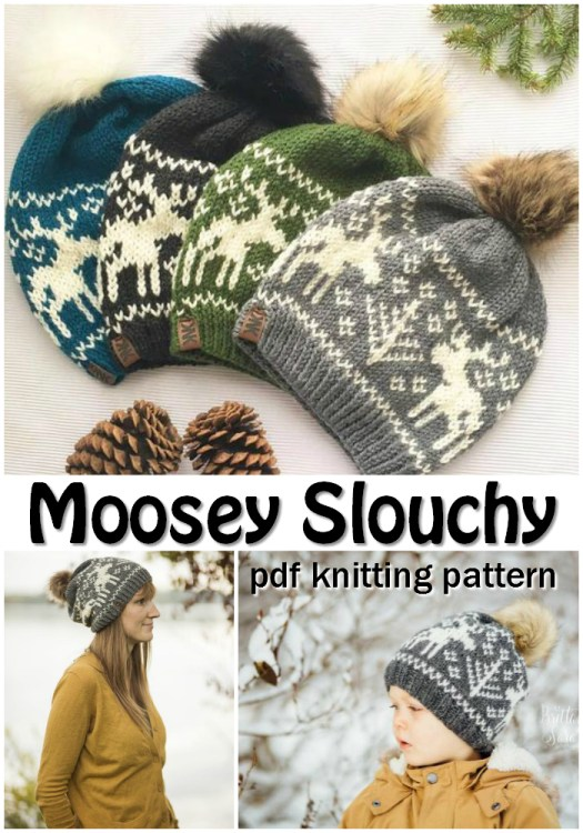 I love the beautiful moose intarsia/fair isle knitting pattern on this fun winter hat pattern! Perfect for winter, skiing and Christmas! So many wonderful pompoms, too! #knitting #pattern #knittingpattern #beanie #toque #winterhat #slouchy #pompom #yarn #crafts #diy #craftevangelist