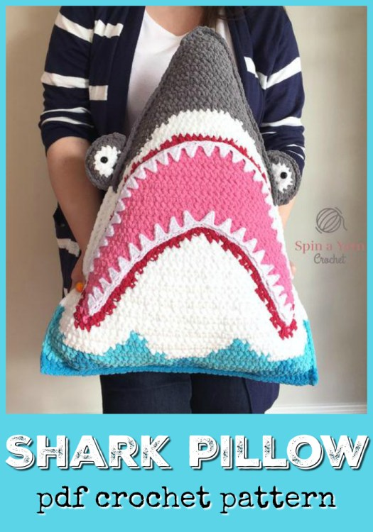 I love this crocheted shark pillow pattern! My kids would love this fun cushion for their beds! It's almost like a stuffed animal! So fun! #sharkpillow #shark #crochet #pillow #cushion #crochetpattern #pattern #yarn #crafts #throwpillow #throwcushion #kids #craftevangelist