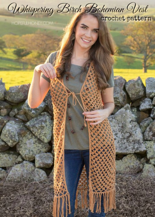 Sweet boho vest crochet pattern: Whispering Birch Vest. I love the little tie, the long length and the groovy fringe. #crochet #pattern #crochetpattern #vest #crochetvest #diyclothes #crochetclothes #crochetforwomen #diy #yarn #crafts #craftevangelist