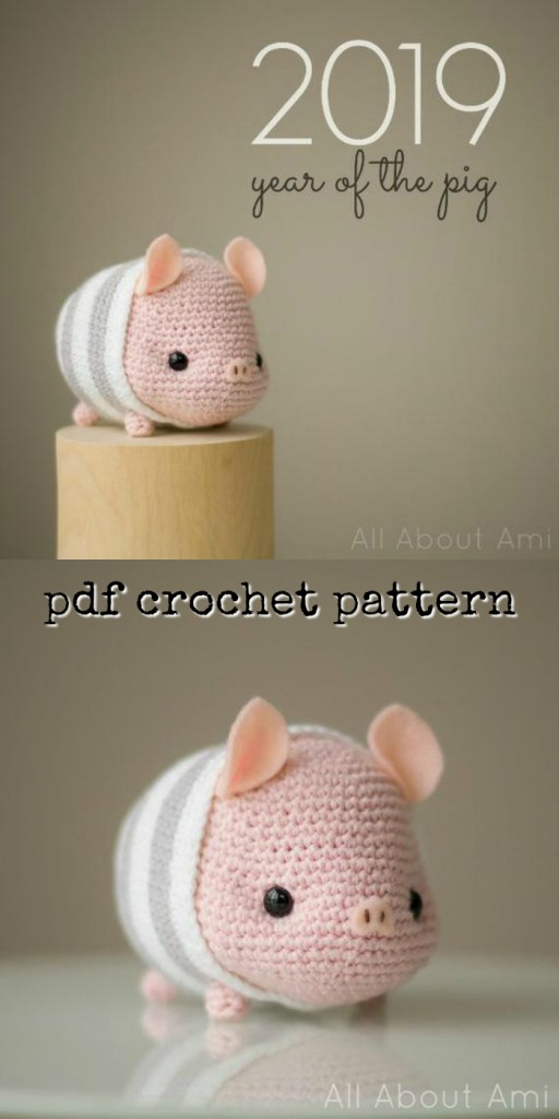 I love this adorable little amigurumi pig crochet pattern! Perfect for the Chinese year of the pig! So Cute!!!! #crochet #allaboutami #pattern #crochetpattern #amigurumi #amigurumipattern #yarn #crafts #farmanimals #craftevangelist