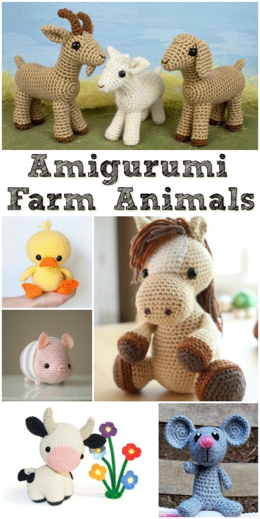 Check out this cute collection of Amigurumi Farm Animals. Crochet patterns to make these adorable stuffed animals and make a whole farm collection! #crochet #pattern #crochetpattern #amigurumi #amigurumipatterns #farmanimals #stuffedtoys #handmadegifts #crochetedtoys #yarn #crafts #craftevangelist
