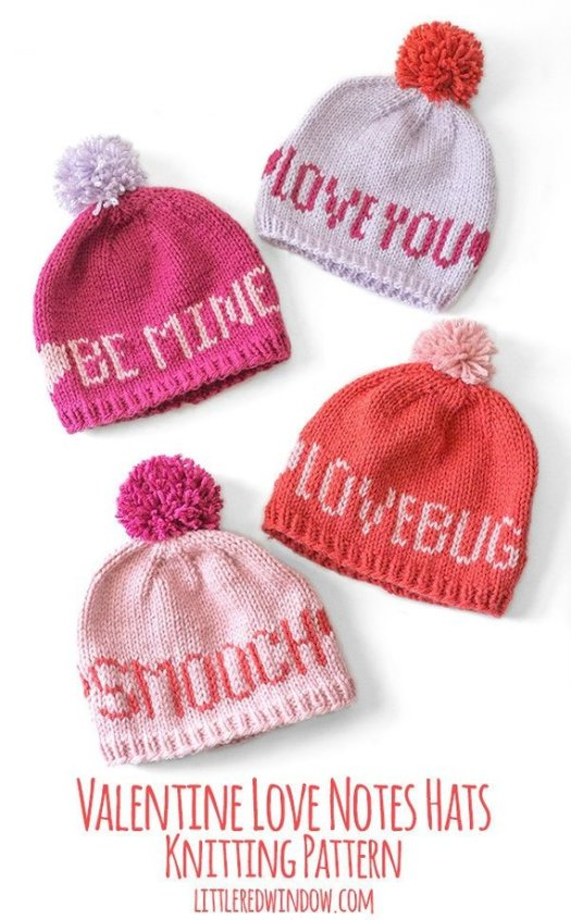 Love these Valentine's notes beanies! What a great looking knit hat pattern! Can't wait to make some of these for my littles! #knitting #pattern #knithat #knitbeanie #beaniepattern #trueloveknits #lovenotes #valentineshat #valentines #valentinesday #yarn #crafts #craftevangelist