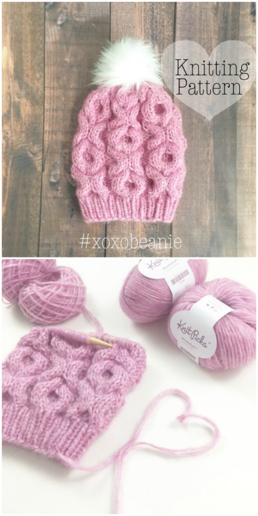 I love this adorable unique knit beanie pattern with xoxo all over it! What a great winter hat pattern for Valentine's Day! #knitting #pattern #knit #hat #beanie #toque #Valentine's #xoxobeanie #crafts #yarn #craftevangelist #trueloveknits