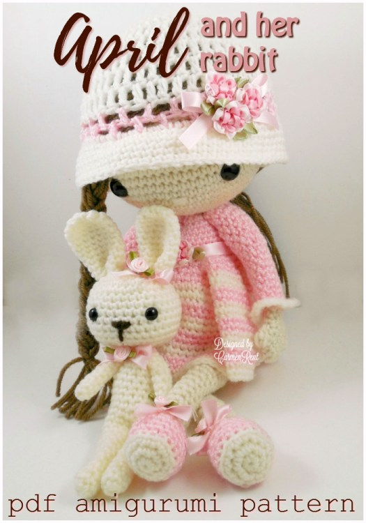 Super pretty and sweet amigurumi doll crochet pattern, April and her rabbit! Such an adorable little stuffed toy pattern to make! #crochet #pattern #amigurumi #crochetpattern #amigurumipattern #yarn #crafts #diy #craftevangelist