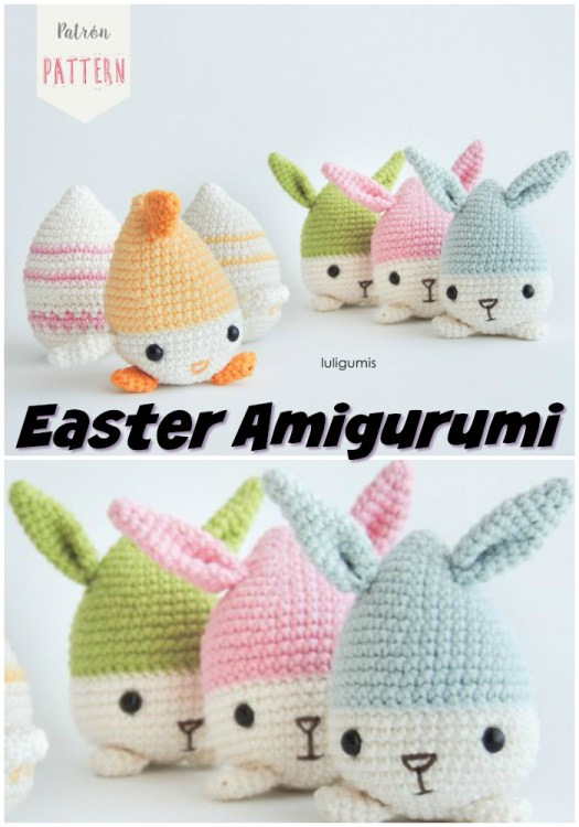 Cute little egg shaped bunny and chick amigurumi crochet pattern for Easter! These would make a fun handmade addition to an Easter basket! #crochet #pattern #amigirumi #yarn #crafts #amigurumipattern #crochetpattern #handmadetoys #craftevangelist