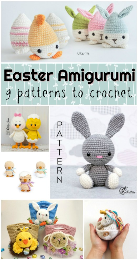 Check out this great Easter Amigurumi pattern round up! Super sweet amigurumi crochet patterns to make for Easter! Time to get crocheting! #crochet #pattern #amigurumi #amigurumipattern #yarn #crafts  #crochetpattern #easter #eastercrafts #bunnies #stuffedtoys