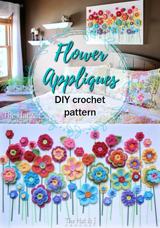What a fun idea for flower appliques! Make a DIY 3-D wall art out of crocheted flowers! This pattern has 5 different flowers to make in different colours to make this great wall hanging! #crochet #pattern #crochetpattern #appliques #yarn #crafts #craftevangelist
