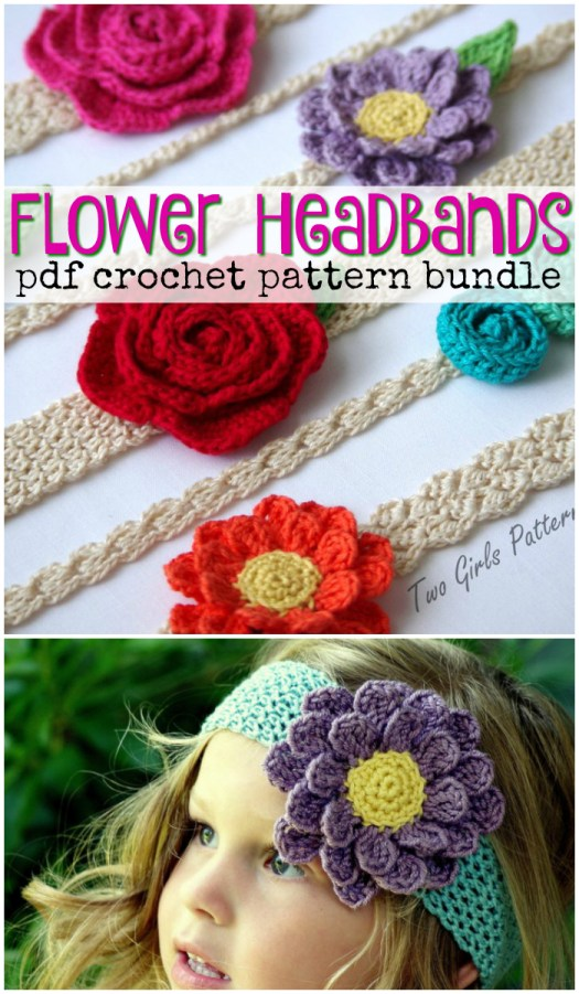 Super cute flower appliques with different band options to make headbands of all kinds! So many fun choices! #crochet #pattern #flowers #applique #headbands #yarn #crafts #craftevangelist