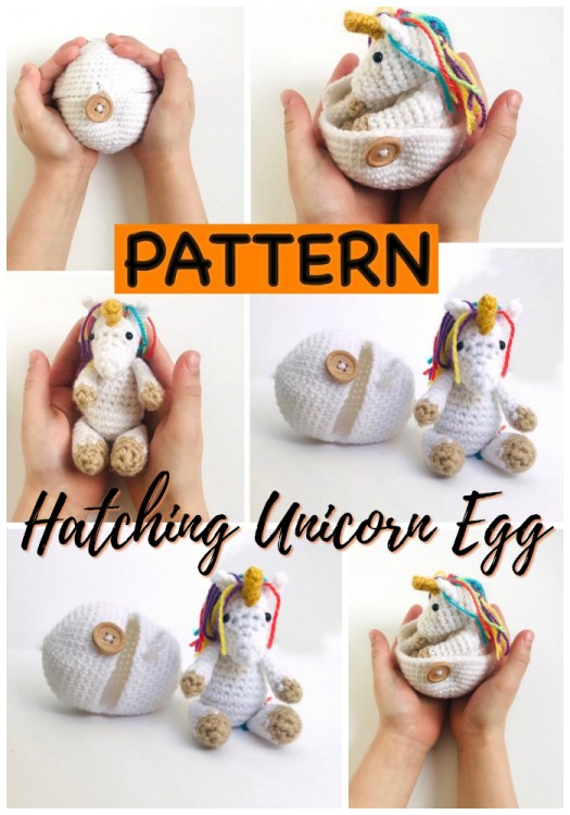 What a fun Hatching Unicorn Egg crochet pattern! This is the perfect handmade Easter gift idea for a Harry Potter fan or a unicorn-lover! Learn amigurumi by making this tiny crocheted unicorn this Easter! #crochet #pattern #amigirumi #yarn #crafts #amigurumipattern #crochetpattern #handmadetoys #craftevangelist