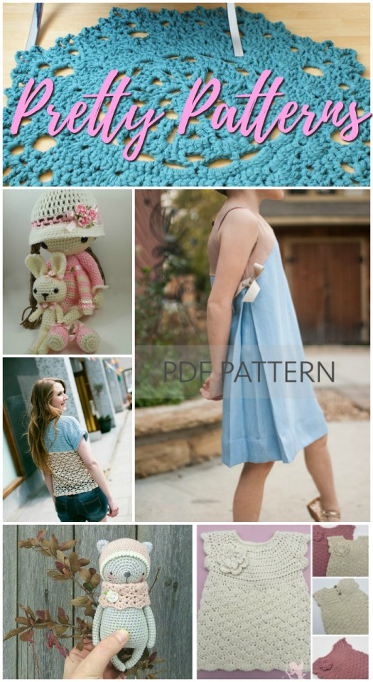 Pretty Patterns to knit, crochet and sew for the warmer weather! I love to make all year! It's so nice to make pretty things! check out these gorgeous patterns! #knit #crochet #sew #make #yarn #crafts #fabric #patterns #craftevangelist
