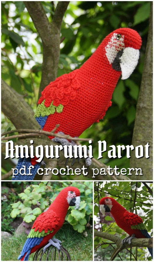 Amazing life-like amigurumi parrot crochet pattern to make this realistic bird! What a fun project for spring! #amigurumipattern #yarn #birds #crafts #amigurumi #crochet #crochetpattern #birds #parrotpattern #crochetparrot #crochetbird
