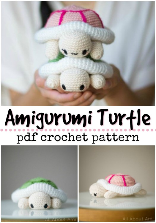 Adorable little cartoon turtle amigurumi crochet pattern! Love this sweet little pattern from All About Ami! #crochetpattern #amigurumipattern #amigurumi #crochet #pattern #crochettoys #yarn #crafts #craftevangelist
