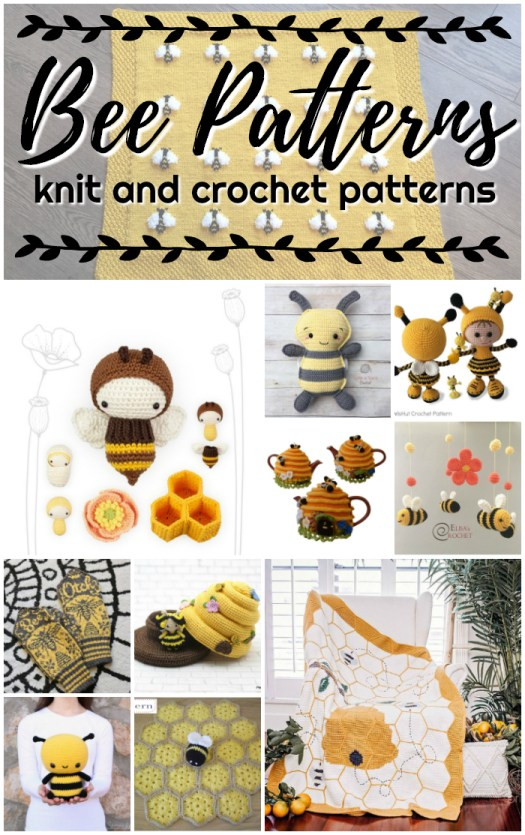 Bee Patterns! Knit and crochet patterns inspired by the humble bee! Amigurumi, blankets, mittens and home decor! #crochet #knitting #crochetpattern #knittingpattern #amigurumi #amigurumipattern #yarn #crafts #craftevangelist