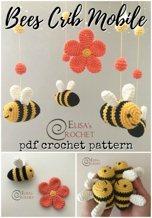 Fun and adorable bee crib mobile crochet pattern! Make your own mobile! What a fun idea! #crochet #pattern #amigurumi #amigurumipattern #crochetpattern #nurserydecor #baby #bees #yarn #crafts #craftevangelist