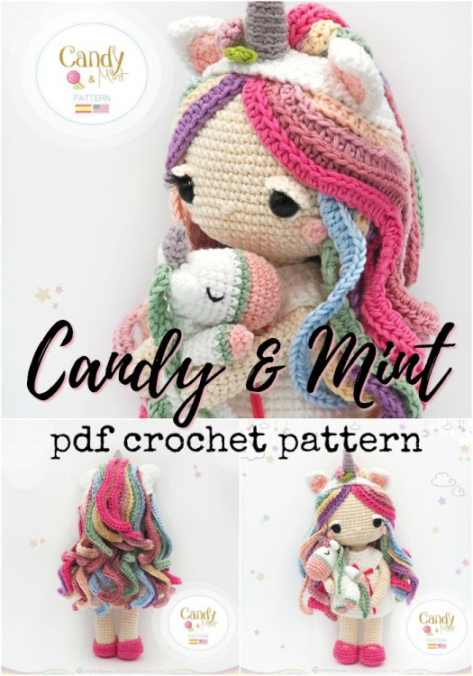 Candy and Mint, the little unicorn doll and her unicorn stuffed animal. Adorable crochet pattern for this beautiful colourful little amigurumi doll! Love this gorgeous pattern! Can't wait to make it! #crochet #pattern #yarn #crafts #amigurumi #crochetpattern #amigurumipattern #craftevangelist #unicorn #unicorndoll
