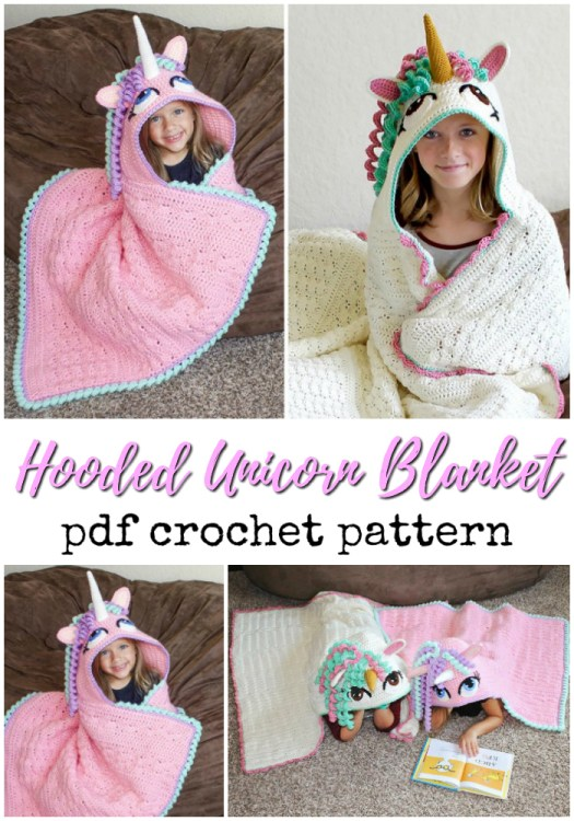 Adorable crocheted unicorn hooded blanket pattern! Love this fun pattern! Great handmade gift idea from grandma to a unicorn-loving little one! #crochet #pattern #crochetpattern #unicornblanket #crochetblanket #unicorn #yarn #crafts #craftevangelist