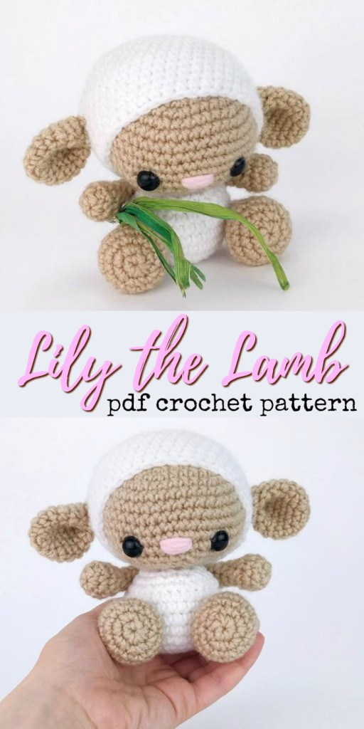 Lily the Lamb, an adorable amigurumi hand-held little sheep crochet pattern! Love this adorable little handmade stuffed toy pattern! #crochet #pattern #amigurumipattern #amigurumi #crochetpattern #yarn #crafts #lamb #sheep #diytoys #craftevangelist