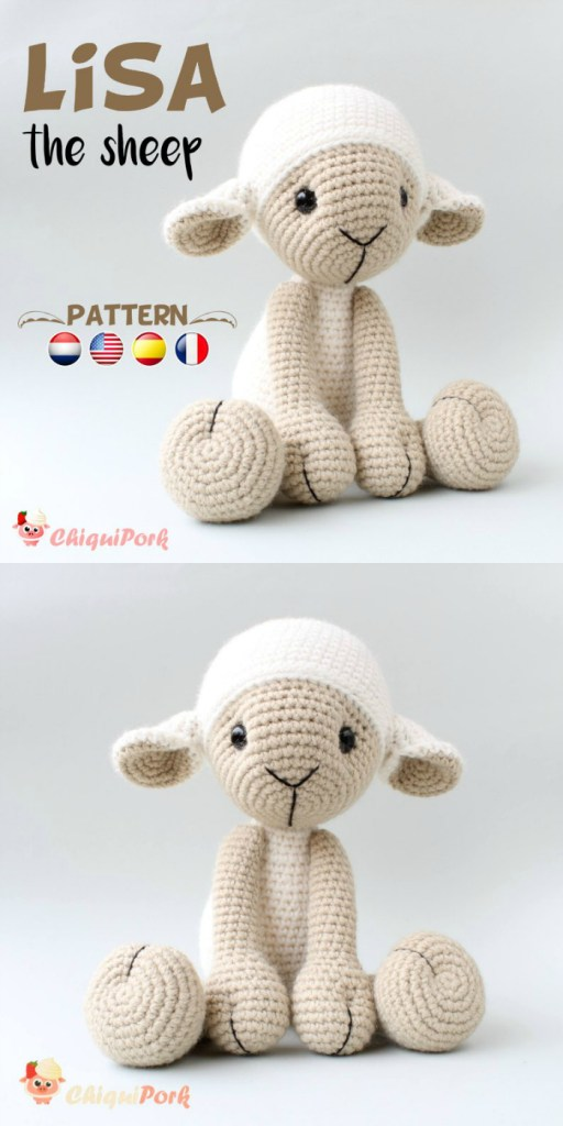 Lisa the Sheep amigurumi crochet pattern for this adorable stuffed lamb toy! Lovely handmade gift idea for a child! #amigurumi #crochet #yarn #crochetpattern #amigurumipattern #crafts #craftevangelist