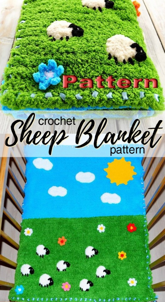 Fuzzy crochet sheep blanket pattern. Looks like such a cozy blanket for a baby! #crochet #pattern #afghan #baby #blanketpattern #crochetblanket #crochetafghan #yarn #crafts #handmadegifts #craftevangelist