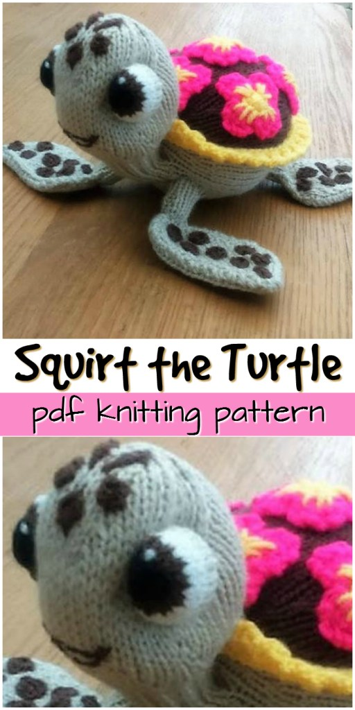 Amigurumi knitting pattern! Usually these are all crochet! This little squirt the turtle knitting pattern is so fun! #knittingpattern #knitting #pattern #yarn #crafts #amigurumi #knitamigurumi #craftevangelist