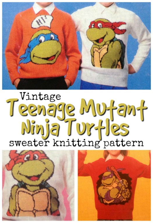 What a fun vintage knitting pattern for Teenage Mutant Ninja Turtles sweaters! So cool! #knittingpattern #knitsweater #tmnt #yarn #crafts #vintageknittingpattern #craftevangelist