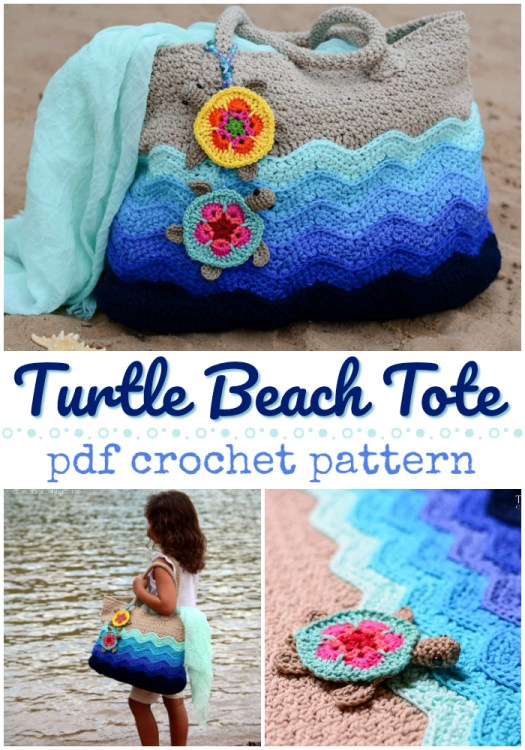 Cute Turtle Beach tote crochet pattern! Love this cute turtle-inspired tote bag! #crochetpattern #crochetbag #bagpattern #totepattern #crochettote #crochet #pattern #yarn #crafts #craftevangelist