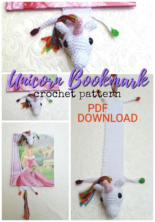 Quick and easy crocheted unicorn bookmark pattern! What a fun and fast unique handmade gift idea! #crochet #pattern #crochetpattern #bookmark #unicorns #crochetedbookmark #yarn #crafts #craftevangelist