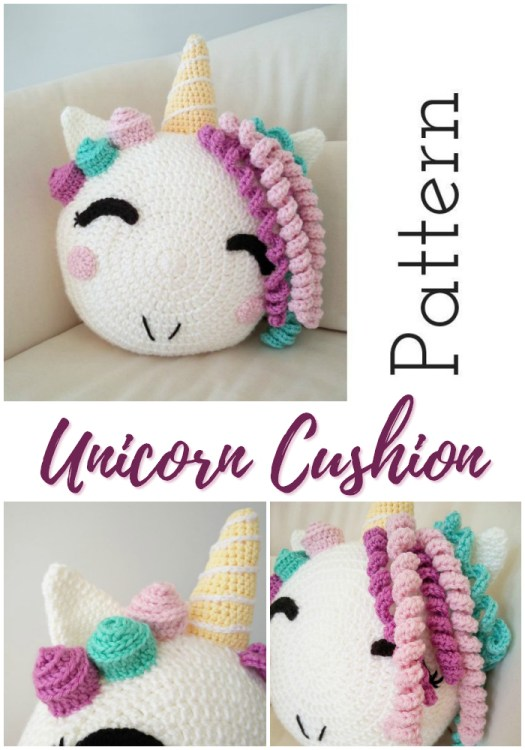 Sweet and simple crochet pattern for this adorable unicorn cushion! Perfect for a kid's room decor! #crochet #pattern #crochetpattern #yarn #crafts #craftevangelist #unicorn #unicorncushion #crochetcushion #amigurumi