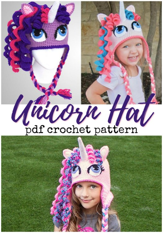 Adorable crocheted unicorn hat pattern! Love this adorable little hat! #crochet #crochetpattern #crochethatpattern #crochethat #unicorns #yarn #crafts #craftevangelist