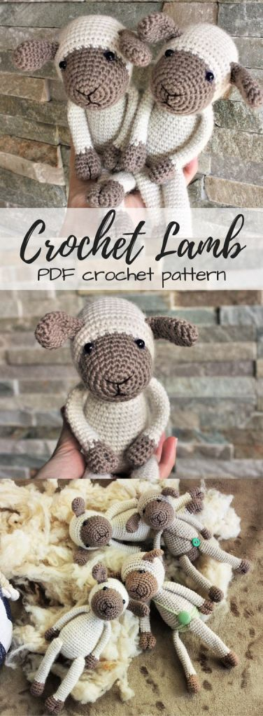 Aw! Sweet crochet lamb pdf crochet pattern! Love this adorable little pattern! Lots of other great sheep knitting and crochet patterns in this post, too! #crochet #amigurumi #amigurumipattern #crochetpattern #pattern #yarn #crafts #craftevangelist