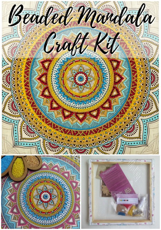 What a fun bead project! Gorgeous beaded mandala craft kit! Perfect little gift idea for an older artistic kid or adult! Love this! #mandala #crafts #giftidea #beading #beads #craftkit #kit #beadedmandala #craftevangelist #etsy