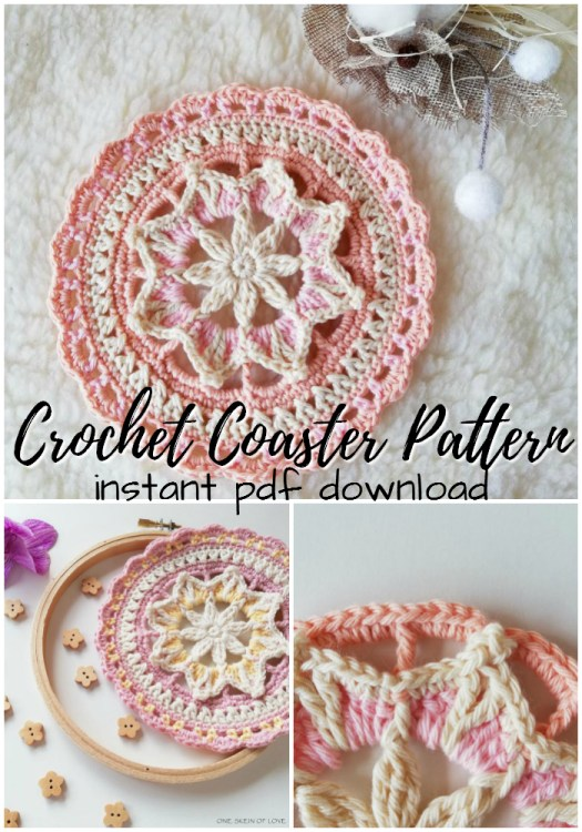 I love this sweet starburst crochet coaster pattern! Perfect little projects for summer and they make great gifts! #crochetpattern #mandala #crochetmandala #mandalapattern #crochetcoaster #crochet #yarn #crafts #craftevangelist