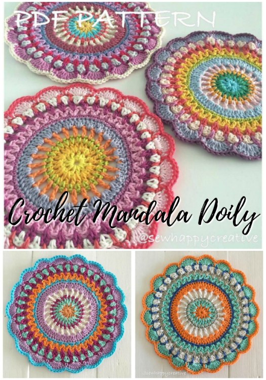 Crochet Mandala Doily pattern. I love these bright and fun crocheted doilies inspired by mandalas! What a perfect pattern to use up small bits of yarn! Nice small projects for summer travelling! #crochetpattern #crochetmandala #crochetdoily #yarn #crafts #crochet #mandala #craftevangelist