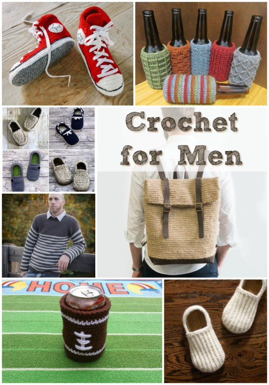 Eight crocheted items for men, mostly patterns, but a couple of made to order items, too. Those slippers are awesome! Great handmade gifts for Father's Day! #crochet #pattern #crochetpattern #yarn #crafts #fathersday #dads #crochetformen #craftevangelist