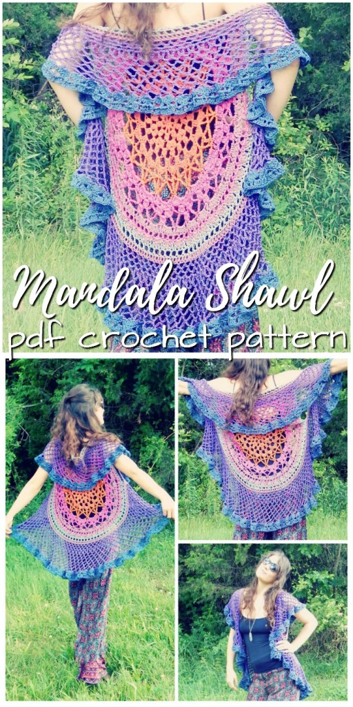 What a fun and colorful mandala circular shawl crochet pattern! I love the bright colours and carefree spirit in this boho shrug pattern! Perfect for festivals! #crochet #crochetpattern #mandala #mandalapattern #crochetmandala #yarn #crafts #etsy #craftevangelist