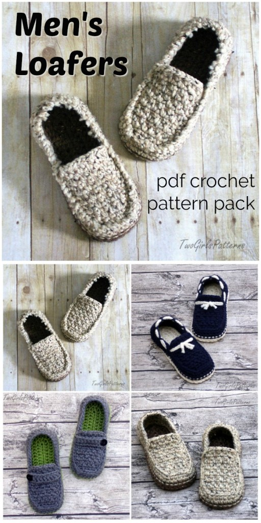 Men's Loafers crochet pattern pack! Make one of these great slipper patterns for your dad this Father's Day! Super great patterns by Two Girls Patterns! #crochet #pattern #crochetpattern #patternpack #crochetslippers #slipperspattern #yarn #crafts #crochetformen #FathersDay #handmadegifts #giftsformen #craftevangelist