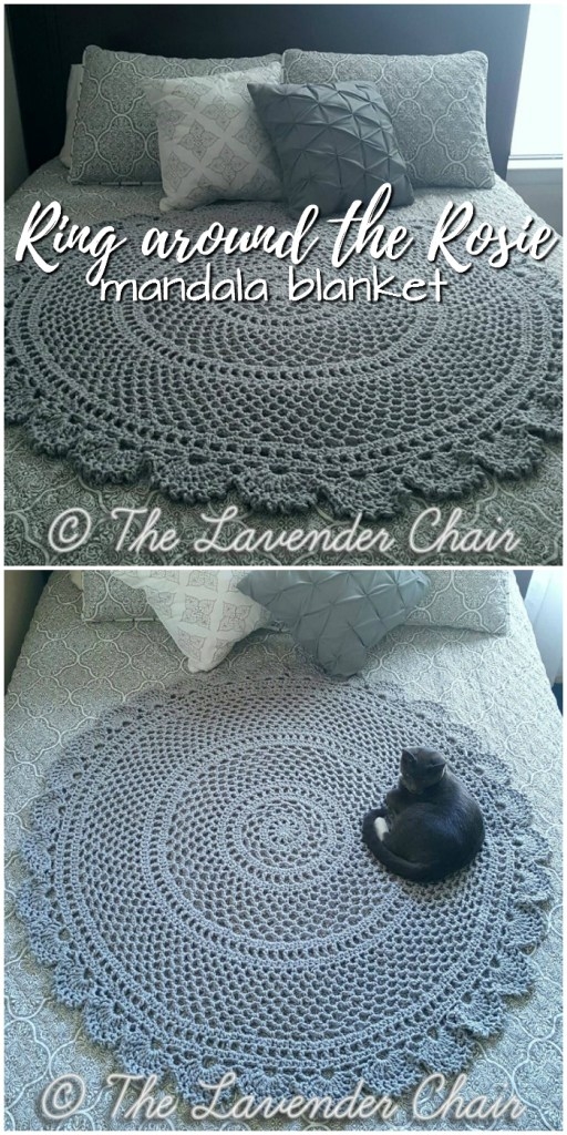 Lovely Ring around the Rosie circular mandala blanket crochet pattern! What a fun throw idea! I love this simple, but stunning pattern! #mandala #crochetpattern #crochet #yarn #crafts #craftevangelist #crochetblanket #crochetmandala #mandala