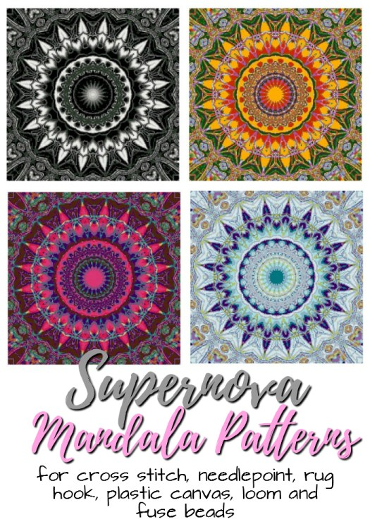 Supernova Mandala Patterns. PDF downloadable patterns for crafting, cross stitch, needlepoint, rug hook, plastic canvas, loom and fuse beads. Mandalas are so hot right now! Love these stunning patterns #mandala #mandalapattern #crafts #crossstitch #needlepoint, #rughook, #plasticcanvas #loom #fusebeads #craftevangelist