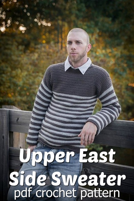 Classic men's sweater crochet pattern. Love the simple stripes on this Upper East Side Sweater crochet pattern! Would make a great Father's Day gift! #crochet #pattern #crochetpattern #yarn #crafts #crochetsweater #crochetformen #stripedsweater #craftevangelist