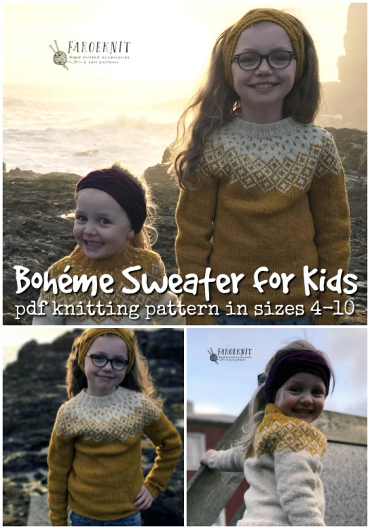 Beautiful knitting pattern for this Boheme sweater for kids! Gorgeous sweater for kids! I love this fair isle pattern, modern but classic! I love the raglan style knitting pattern, too! Perfect for fall! #knitting #knit #knittingpattern #knitsweater #knitsweaterpattern #sweater #pattern #yarn #crafts #craftevangelist