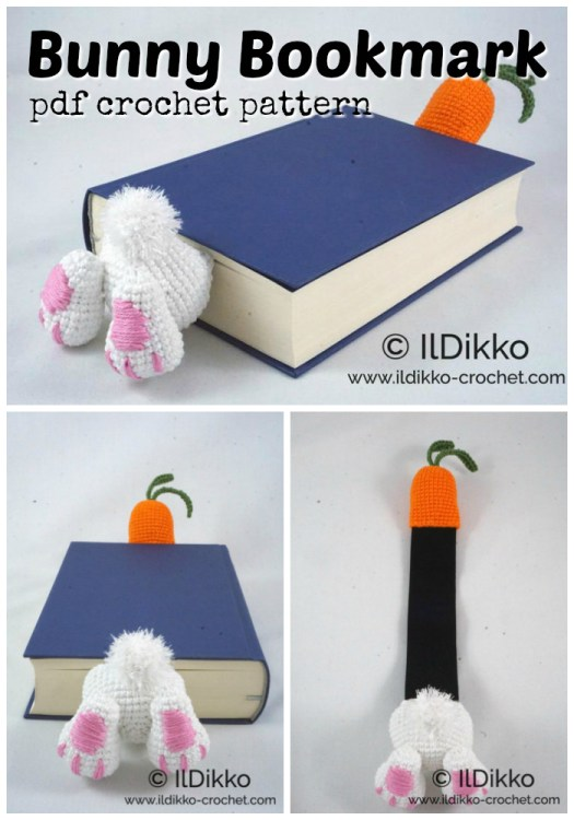 Delightful little bunny bookmark crochet pattern! Fun and practical amigurumi pattern for a booklover! #amigurumipattern #crochetpattern #bookmark #crochet #pattern #amigurumi #craftevangelist