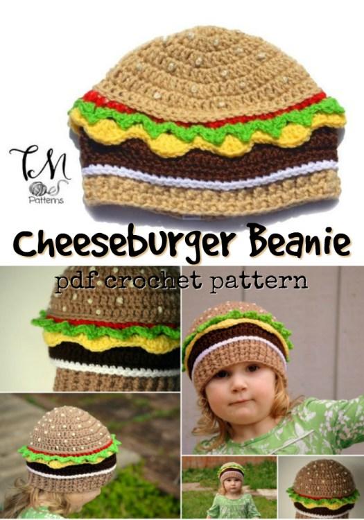 Fun crochet pattern for this cheeseburger hat! Perfect crochet beanie pattern for the hamburger lover! #yarn #crafts #craftevangelist #beanie #crochetbeanie #crochethat #crochettoque #toque #hat #crochetpattern #hamburgerlover #hamburgerhat